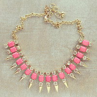 Pree Brulee - Pink Crystal Spikes Necklace - As seen on US Weekly