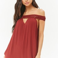 Crinkled Crochet Trim Cutout Swim Cover-Up Dress