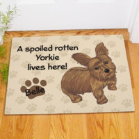 Personalized yorkie Spoiled Here Doormat