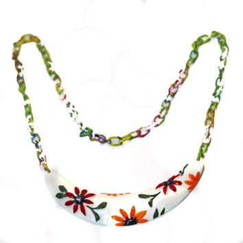 Sping Flowers Necklace, Garden Necklace, Garden Of Flowers, Flower Pendant, Flower Necklace, Multi Color Chain, Sunny Flower Necklace, Gift