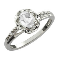 White Topaz Oval Diamond Ring .925 Sterling Silver Rhodium Plated White Gold Quality