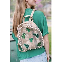 Cactus & Pom Pom Back Pack, Natural/Green