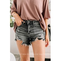 In The Grey Area Distressed Denim Shorts