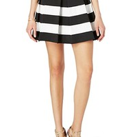 Striped & Textured Pleated Skirt