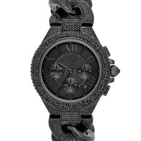 Michael Kors Mid-Size Black Stainless Steel Twisted Camille Three-Hand Glitz Watch
