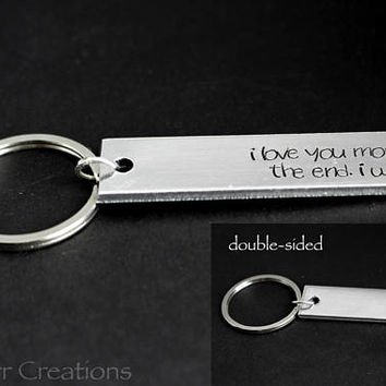 I Love You Most The End I Win Double Sided Keychain with Custom Name, Anniversary Gift for Couples, Friendship Accessory