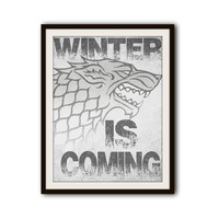 Game of Thrones Winter is Coming Typography Poster Print