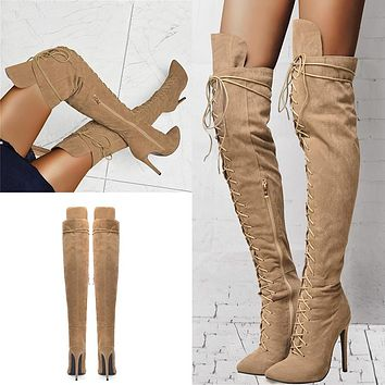 Sexy Over The Knee Knight Boots Lady Sexy Thigh High Boots Women Party High Heels Shoes Woman