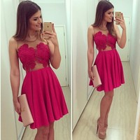 Hot Sale Christmas Prom Dress Red V-neck Lace Patchwork One Piece Dress [7788792647]