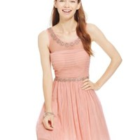 City Triangles Juniors' Embellished Illusion Pleated Party Dress | macys.com
