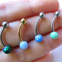 Belly Button Ring Jewelry, Blue Green Fire Opal Belly Button Ring Jewelry Piercing Bar Barbell 14 Gauge Navel Stud Belly Button Ring Jewelry