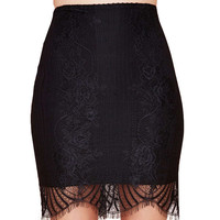 Black Lace Mini Bodycon Skirt