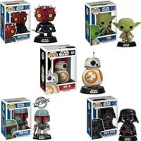 Funko POP Star Wars Darth Vader BB-8 BB8 Derth Maul Yoda Boba Fett Shake Head Cute Action Figures Kids Gifts Toy #FB