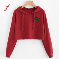 FEITONG Women Hoodie Sweatshirt Fashion Embroidery Floral Jumper Crop Top Embroidery Pullover Top Autumn Winter Short sweatshirt