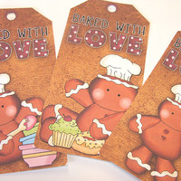 Gingerbread Gift Tags , Christmas Tags , Set Of 6 , Baking Tags , Baked With Love Tags , Holiday