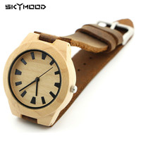 2016 Luxury Brand Man Leather Wooden Watch For Woman.