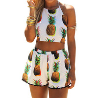 Summer Beach Pineapple Printed Jumpsuits Short Backless Sexy Jumpsuit Shorts Crop Top Macacao Playsuit Romper Bodysuit Femininas