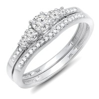 0.45 Carat (ctw) 14k White Gold Round Diamond Ladies 5 Stone Bridal Engagement Ring Matching Band Set 1/2 CT (Size 6)
