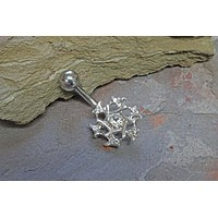 Silver Snowflake Belly Button Ring