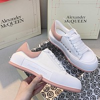 Alexander McQueen new canvas stitching sheepskin small white shoes fashion men's and women's low-top sneakers shoes 1