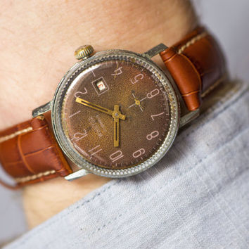Brown men's wrist watch Vostok mechanical watch classic watch ornament cover Russian premium leather strap new