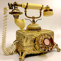 Vintage Ornate Gold Victorian Rotary Telephone