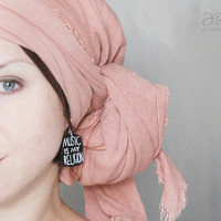 hand painted earrings - 'music is my religion' black & white