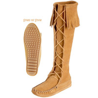 Minnetonka Front Lace Knee High Women's Boots on Sale for $84.95 at The Hippie Shop