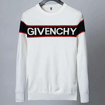 Givenchy 2018 autumn new tide brand men's round neck long-sleeved sweater white