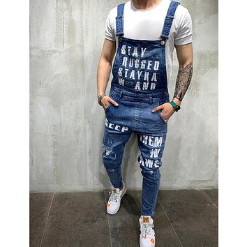 Fashion Men's Ripped Jeans Jumpsuits Shorts Summer Hi Street Distressed Denim Bib Overalls For Man Suspender Pants