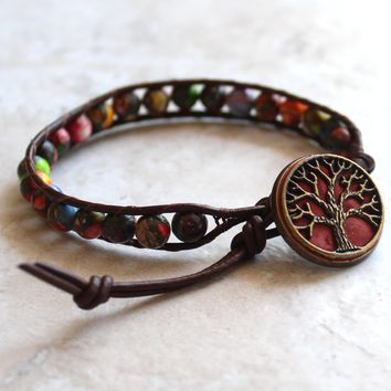 Mixed impression jasper tree of life bracelet with red button