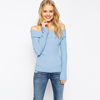 Blue Off-Shoulder Long Sleeves Knitted Sweater