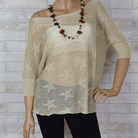 Tina Chic Stars Loose Fit Knit Sweater Top-Taupe