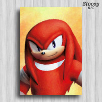 knuckles print sonic art nintendo painting sonic wall decor