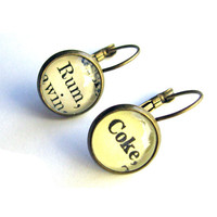 Rum and Coke Cocktail Earrings Recycled Library Card Brass Setting The Written Nerd