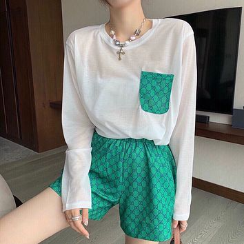 GG Women's Double G Letter Printed Long Sleeve Top + Shorts Two-piece Set