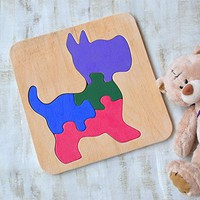 Wood puzzle Dog Waldorf toy Montessori Toys Puppy wooden educational game animal baby Toys wooden puzzles Baby Shower Gift toddler learning game Eco friendly Toddler game Jigsaw Puzzle