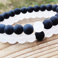YINYANG Bracelet, Black and White Bracelets, Set Of Two Bracelets, Gemstones Matte Onyx White Snow Quartz Unisex Stretch Bracelets