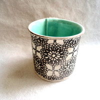 Aqua Coffee Cup, Pottery Mug, CeramicTea Cup, crochet imprinted original art