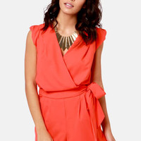 Take the Wrap Coral Red Romper