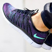 """NIKE"" Trending Free Knit Fly Line Fashion casual sports shoes Dark purple"