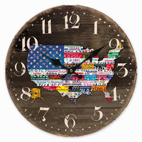 Retro Vintage Style Large Clock USA America Flag Map Car Plate Number Home Decorative Wall Clock Wood 34CM