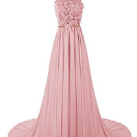 A-Line High Neck Chiffon Prom Dresses