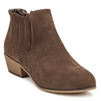 Low Heel Ankle Boots With Flock Design