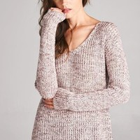 v neck 2tone sweater