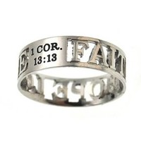 """Christian Women's Stainless Steel Abstinence 6mm """"Faith Hope Love"""" 1 Corinthians 13:13 Cutout Mini Silhouette Chastity Ring for Girls - Girls Purity Ring"""