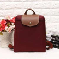 DCCK Longchamp Women's Nylon High Quality 1699 Foldable Tote Bag - Wine Red Color