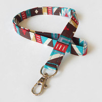Tribal Print Lanyard / Aztec Indian Inspired / Boho Keychain / Bohemian / Key Lanyard / ID Badge Holder / Fabric Lanyard / Turquoise