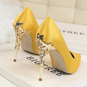 Metal Carved Thin Heel High Heels Pumps Women Shoes Sexy Pointed Toe Fashion Candy Colors Wedding Shoes