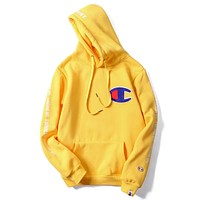 Champion x Bape joint autumn and winter models men and women couple hooded sweater F-A-KSFZ Yellow